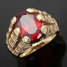 Classic Size 8 Rare Red Garnet 18K Gold Filled Mens Wedding Anniversary Ring