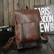 Mens Vintage Faux Leather Laptop Backpack Rucksack Messenger Bag Satchel Travel