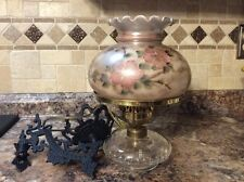 Vintage Wall Hanging Electrified Oil Lamp Signed Hand-painted Shade/Wall Bracket