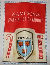 "SHREWSBURY - VINTAGE WALKING / HIKING STICK BADGE / MOUNT ""NEW with PINS"" .IP"