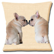 "FAWN FRENCH BULLDOG PUPPIES PHOTO BEIGE TEXTURE PRINT 16"" Pillow Cushion Cover"