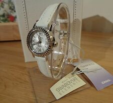 Casio SHE-4036L-7AUDR Ladies Sheen White Strap with Swarovski Elements RRP: £85.