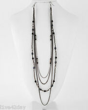Gunmetal Bead & Black Metal Chain Strand Earlace Collar Sexy Earrings Ear Lace