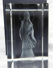 Crystal Block with Laser Etched Kwan Yin / Guan Yin Buddha - BNIB - Gift Box