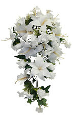 Light Cream Ivory Roses Lilies Cascade Bridal Bouquet  Silk Wedding Flowers Arch