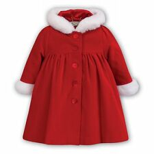 Designer Sarah Louise Baby Girl Red Faux Fur Trim Coat Age 12mths RRP £105 NEW