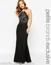 Jarlo Petite Black Lace Halter  Wedding Cocktail Evening Party Maxi Dress 6 34