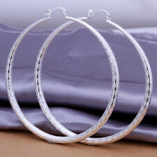 925 Stamped Sterling Silver Filled SF Large Hoop Earrings E-A478