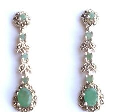 GORGEOUS! NATURAL TOP RICH GREEN EMERALD-MARCASITE 925 SILVER STERLING EARRINGS