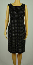 Calvin Klein Womens Black Sleeveless Embellished Stretch Sheath Dress 8