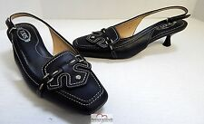 Tod's Black Leather Slingback Pumps 7 Italy