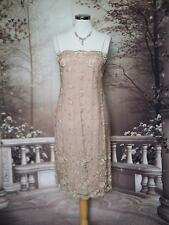 PHASE EIGHT Dress 12 Beads Embroid Pink Mesh Evening/Gatsby/Downton Flapper 20's