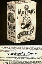 Mother's Crushed Oats 1896 ADVERTISING - Akron Cereal Company - Print Ad Matted