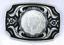 Silver Color Southwest Western REAL 1922 Peace Silver Dollar Belt Buckle EPBB93