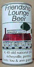 FRIENDSHIP LOUNGE BEER ss CAN with BUILDING Schell, New Ulm, MINNESOTA 1978 gd1+