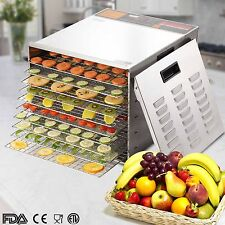 10 Tray Commercial Food Dehydrator Fruit Jerky Dryer Blower Stainless Steel New