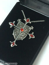 Masonic Knights Templar Shield Cross Pendant & Chain Jerusalem Cross Talisman