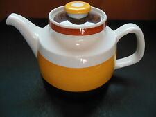 Rorstrand FOKUS Teapot Mid Century Vintage Yellow Brown Stripes Sweden