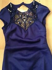 "Bnwt"" Lipsy "" Size 8 Purple Necklace Embellished Party Evening Dress New"