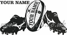 Personalised rugby ball and boots wall art decal