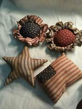 Primitive  Americana Bowl Fillers/ Ornies American Flags Stars Flowers/Grunged