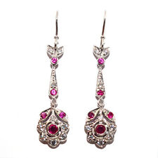 VINTAGE RETRO STYLE GENUINE RUBY & CZ STONE 925 STERLING SILVER HOOK EARRINGS
