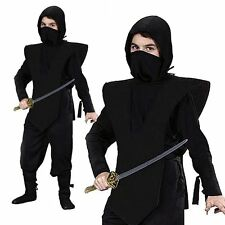 Black Ninja Kids Boys Stealth Japanese Warrior Halloween Fancy Dress Up Costume