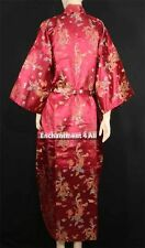 Elegant Handmade Dragon Design Silk Satin Long Kimono Robe w Waist Tie, Burgundy