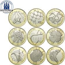 Finnland 9 x 5 Euro 2010/ 11 PP Komplettserie Finnische Regionen in CoinCard