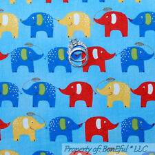 BonEful Fabric FQ Cotton Quilt Blue Red Yellow White ELEPHANT US Dot Baby Stripe