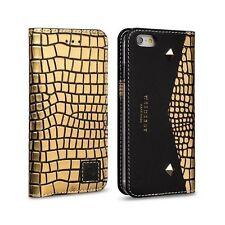 Estuche De Cuero Genuino Aficionados De Oro Cuadrado Negro Premium Para Iphone 6/6s