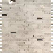 Sample-Stainless Steel Carrara White Marble Stone Mosaic Tile Backsplash Kitchen