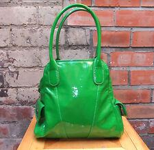 M&S Per Una Small Apple Green Shiny Patent Grab Bag Tote Shoulder Handbag