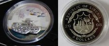 Liberia 2008 Large Silver Proof Color$5 WWII-Japan 95 Ha Go Tank/Airplanes