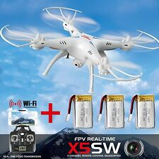 SYMA X5SW HD Camera RTF WiFi FPV 2.4Ghz 4CH RC Quadcopter Drone 2MP +3 Batteries