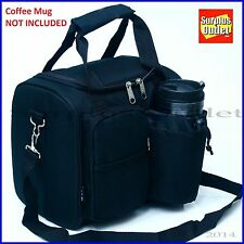 Insulated Lunch Bag Jumbo Size Black With Adjustable Straps and Removable Liner