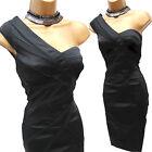 KAREN MILLEN Black One Shoulder Satin Lace Detail Cocktail Pencil Dress 16 UK