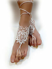 Lace Barefoot Sandals. Foot Jewelry. Beach Wedding. Bridal Anklets. Pair 2 pcs.