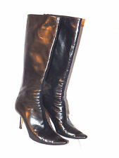 PEONY Jimmy Choo Black Leather Knee High Stiletto Zip Back Boots Dust Bag Auth
