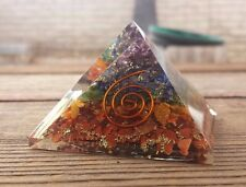 LARGE (50-55mm) 7 CHAKRA LAYERED ORGONE GEMSTONE PYRAMID LARGE PYRAMID ORGONITE