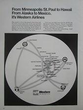 11/1970 PUB COMPAGNIE AERIENNE WESTERN AIRLINES INTERNATIONAL ORIGINAL AD