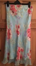 LADIES BEAUTIFUL HOBBS LINED FLOWERY BEADS/SEQUINED 100% SILK SKIRT SIZE 12 -VGC