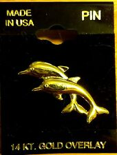 14k Gold Overlay Dolphin Beach Sea Ocean Lapel Hat Pin Brooch Jewelry New Y6XB
