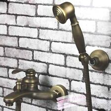 Bathroom Antique Brass Bathtub Shower Faucet Set With Hand Held Shower B132
