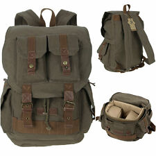 Vintage Canvas DSLR Camera Backpack Insert Bag Travel Rucksack For Canon Nikon