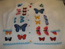 STORYBOOK KNITS SWEATER ~ WHITE beads butterflies ~ woman's 2X (prev owned)