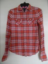Women's AMERICAN EAGLE OUTFITTERS Orange Plaid Western  Shirt Blouse  Size 0