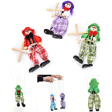 1 Pcs Pull String Puppet Wooden Marionette Joint Activity Doll Clown Kids Toy to