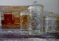 NEW Circleware ROOSTER CANISTER SET (3) Honeycome Glass Jar Lids Seal Storage