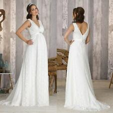 Empire V-Neck Lace Pregnant Maternity Wedding Dresses Bridal Gowns Custom Size